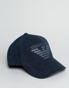 Темно-синяя бейсболка с большим логотипом Armani Jeans - Темно-синий