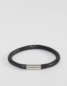 Черный кожаный плетеный браслет Paul Smith - Черный