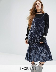 Бархатное платье-комбинация миди с оборками Rokoko - Синий