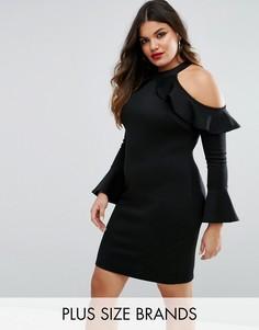 Платье с вырезами на плечах и расклешенными рукавами Club L Plus - Черный