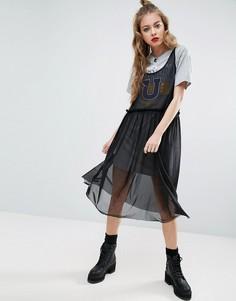 Сетчатое платье миди с футболкой ASOS West Coast - Мульти