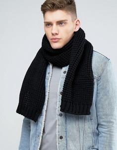 Черный вязаный шарф ASOS - Черный