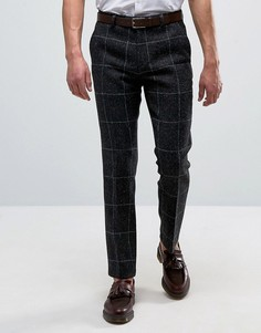 Темно-синие строгие брюки узкого кроя из харрис-твида в клетку ASOS - Темно-синий