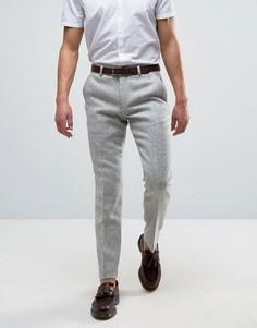 Серые узкие строгие брюки из харрис-твида ASOS - Серый
