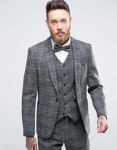 Узкий твидовый пиджак в клетку из 100% шерсти ASOS - Серый