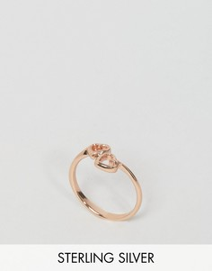 Кольцо с сердечками из позолоченного серебра ASOS - Медный