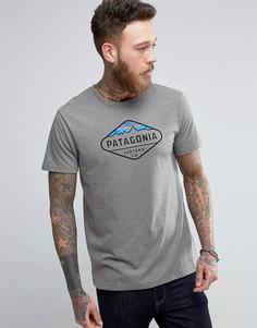 Серая меланжевая футболка с логотипом Patagonia Fitz Roy - Серый