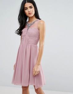 Драпированное платье для выпускного с отделкой Little Mistress - Розовый