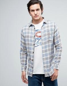Узкая рубашка в клетку из хлопка Jack & Jones Vintage - Синий