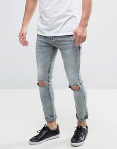 Выбеленные джинсы скинни Brave Soul - Синий