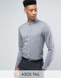 Серая оксфордская рубашка классического кроя в стиле casual ASOS TALL - Серый