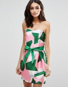 Платье-бандо с геометрическим принтом Traffic People - Мульти