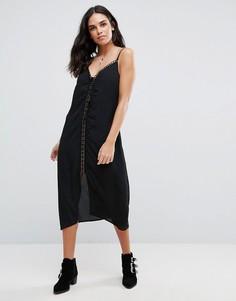 Свободное шифоновое платье миди со шнуровкой спереди Goldie Trippin - Черный