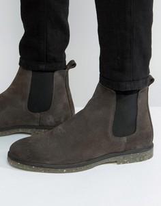 Серые замшевые ботинки челси с подошвой в крапинку ASOS - Серый