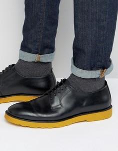 Черные кожаные дерби с цветной подошвой ASOS - Черный