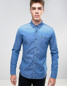 Эластичная джинсовая рубашка классического кроя цвета индиго Hilfiger Denim - Синий