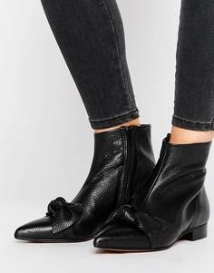 Кожаные полусапожки с острым носком и узелком ASOS ALABAMA - Черный