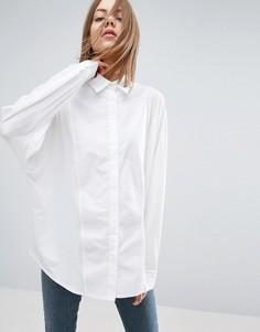 Трикотажная рубашка с контрастной вставкой из поплина ASOS WHITE - Белый