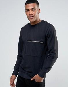 Выбеленный свитер с карманом на молнии Diesel S-ACHILLE - Черный