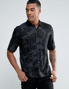 Рубашка с короткими рукавами и лиственным принтом Diesel S-WESTY - Черный