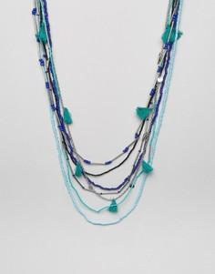 Многослойное ожерелье с кисточками и бисером Glamorous - Синий