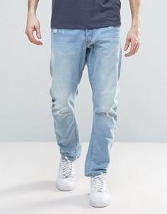 Светлые суженные джинсы с потертостями G-Star Type C 3D - Синий