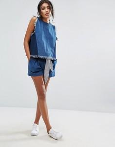Джинсовые шорты с завышенной талией и завязкой в полоску на поясе J.O.A Co-Ord - Темно-синий J.O.A.