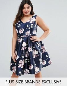 Сатиновое платье для выпускного с цветочным принтом Chi Chi London Plus - Мульти
