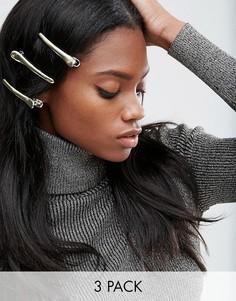 3 заколки для волос ASOS - Золотой