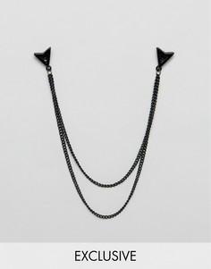 Черные матовые уголки для воротника с цепочками DesignB London - Черный
