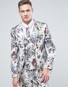 Кремовый приталенный пиджак с цветочным принтом ASOS WEDDING - Кремовый