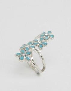 Кольцо с эмалированными цветами ASOS - Серебряный
