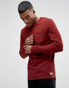 Свитшот с круглым вырезом и контрастным карманом Jack & Jones - Красный