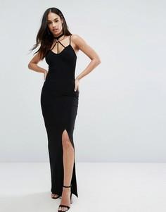 Платье макси с разрезом и декоративными лямками Club L - Черный