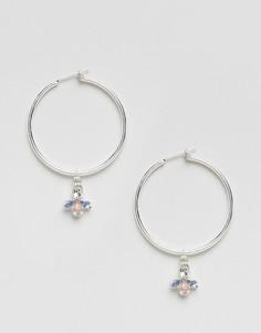 Серебристые серьги-кольца с подвеской Johnny Loves Rosie - Серебряный