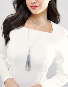 Ярусное ожерелье-чокер с кисточкой DesignB London - Серебряный