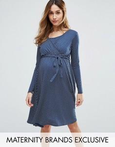 Платье в горошек с запахом Bluebelle Maternity Nursing - Темно-синий
