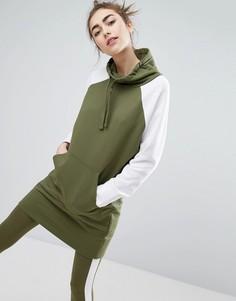 Платье-свитшот в стиле колор блок Monki - Зеленый