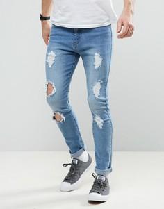 Рваные выбеленные джинсы скинни Liquor & Poker - Синий