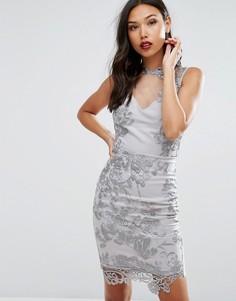 Платье-футляр с верхним слоем из прозрачного кружева Lipsy - Серебряный