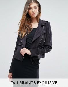 Байкерская куртка из искусственной замши Missguided Tall - Черный