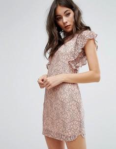 Облегающее платье с рукавами рюшами и высокой горловиной PrettyLittleThing - Розовый
