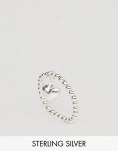 Серебряное кольцо с подвеской-сердцем ASOS - Серебряный