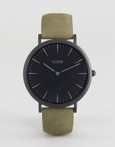 Часы с черным циферблатом и кожаным ремешком оливкового цвета Cluse La Boheme - Зеленый