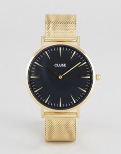 Часы с черным циферблатом и золотистым сетчатым ремешком Cluse La Boheme - Золотой