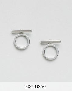 Абстрактные минималистские серьги с кольцами Monki - Серебряный