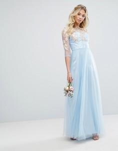 Кружевное платье макси с тюлевой юбкой Chi Chi London - Синий