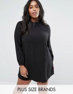 Свободное платье с кружевной отделкой Lovedrobe Plus - Черный