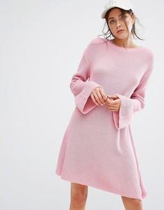 Свободное вязаное платье Boohoo - Розовый