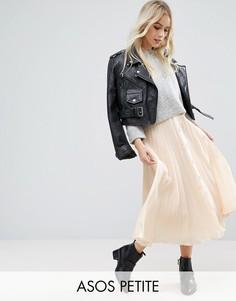 Плиссированная юбка миди на пуговицах ASOS PETITE - Розовый